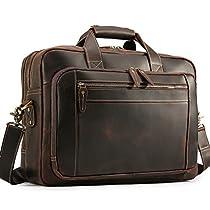 Mens Vintage Leather Messenger Satchel Multi-Purpose Pocket Casual Travel School Case Tablet 17 Inch Laptop Large Capacity Shoulder Bag Business Briefcase Tote Handbag Brown