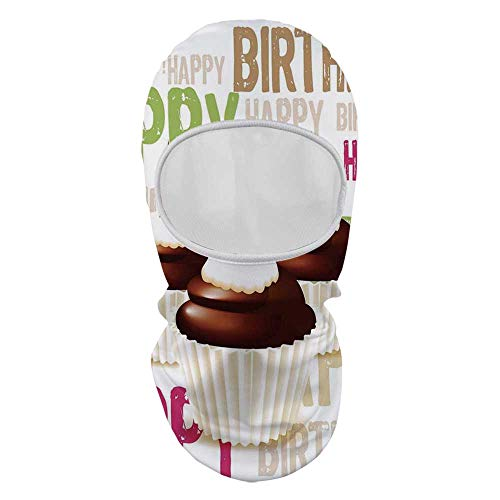 YOLIYANA Birthday Decorations Sunscreen Mask Face Gini,Grunge Happy Birthday Pattern with Three Chocolate Cupcakes Candles for Outdoor,8.6