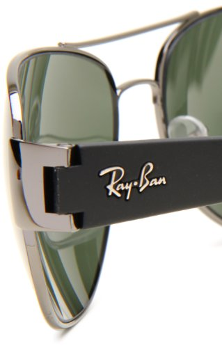 e168ae21ef Ray-Ban RB3448 - GUNMETAL Frame CRYSTAL GREEN Lenses 63mm Non-Polarized   Amazon.ca  Clothing   Accessories