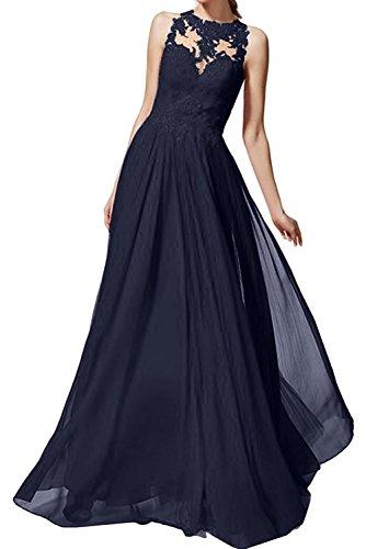 Neu La Blau Langes Navy Braut Brautmutterkleider Abendkleider Kleider Dunkel Spitze Marie Damen Jugendweihe Chiffon xUvx4Rf