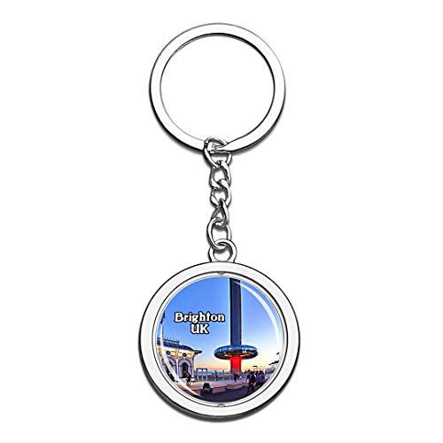 (Brighton British Airways UK England Keychain 3D Crystal Creative Spinning Round Stainless Steel Keychain Travel City Souvenir Collection Key)