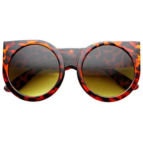 Amber Shiny Tortoise Glass (Womens Oversized Super Bold Round Cat Eye Sunglasses (Shiny-Tortoise Amber))