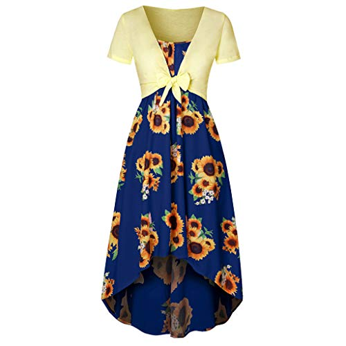 - Dress for Women,SMALLE◕‿◕ Women Casual Summer Short Sleeve Bow Knot Cover Up Tops Sunflower Strap Midi Sun Dresses Blue