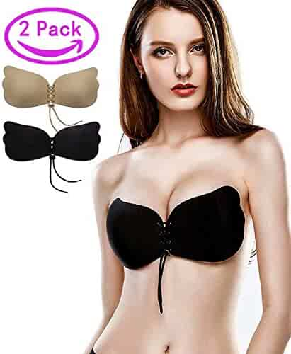 2948b86c41257 Kingoudoor Strapless Backless Bra Push Up Self Adhesive Invisible Sticky  Bras Women - 2 Pack