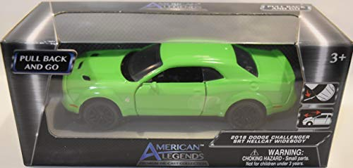 (AMERICAN LEGENDS Motor MAX Pull Back Green 2018 Dodge Challenger SRT Hellcat WIDEBODY DIE-CAST, About 4 1/2 INCHES Long)