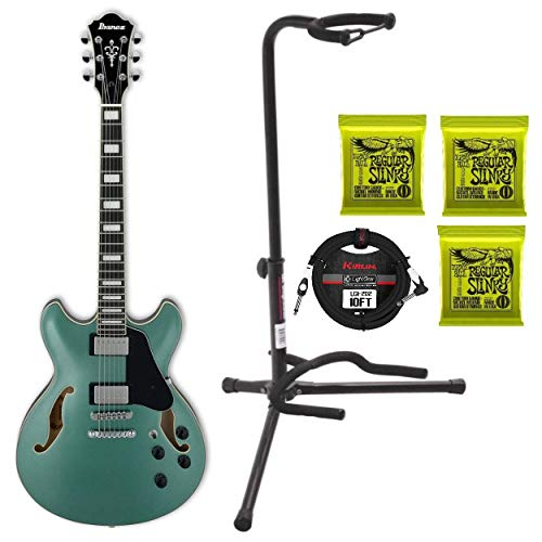 Ibanez AS73OLM Artcore Hollow Body Electric Guitar (Olive Metallic) with 3 Sets of Strings, Guitar Stand and Cable