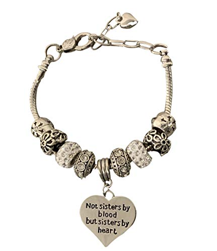 - Infinity Collection Best Friends Bracelet- Not Sisters by Blood But Sisters by Heart Charm Bracelet for Women, Friend Jewelry for Friends