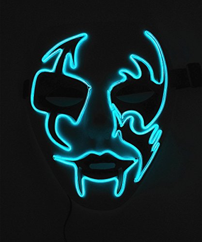 Cage-YYL Frightening Wire Halloween Cosplay LED Light up Mask for Festival Parties (Clown 2, Blue) - Two Face Cosplay Costume