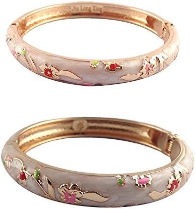 UJOY Vintage Jewelry Cloisonne Bracelet Flower Enameled Gift Hinge Open Bangles for Women 55C48