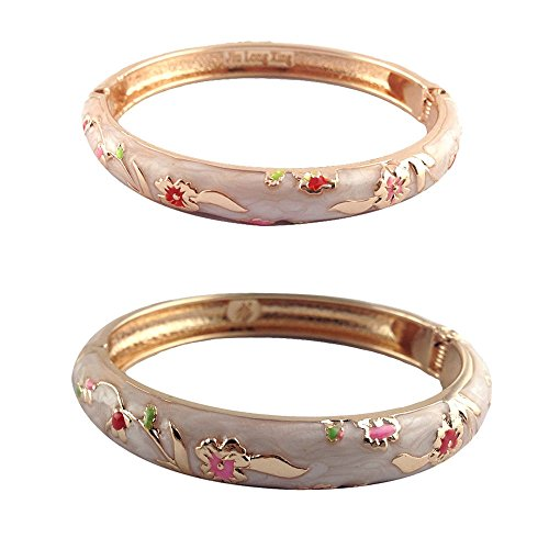 UJOY Bracelets Colorful Enameled Flower Cloisonne Jewelry Gold Cuff Hinged Handcrafted Bangle Sets Packed in Gift Box 55B31 Cream White from UJOY