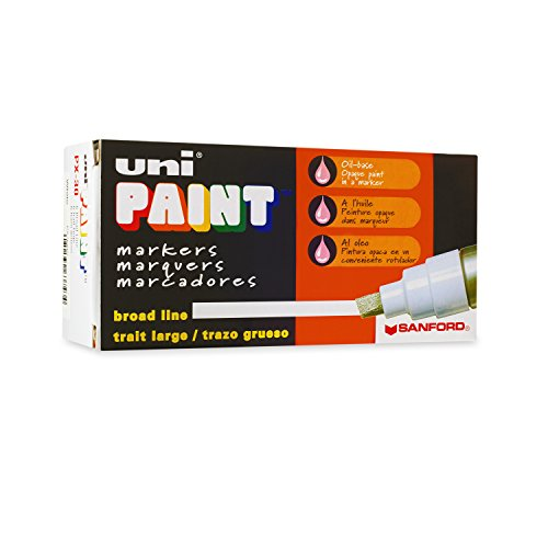 Uni-Paint PX-30 Oil-Based Paint Marker, Broad Point, White, 6-Count (White Paint Marker Oil Uni)