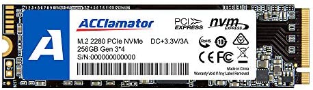Acclamator 256GB NVMe PCIe M.2 2280 Internal SSD High Performance Solid State Drive with Laptop & PC Desktop