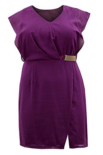 Curvylicious Women's Plus Size Dress Cap Sleeve Chiffon Buckle Detail – Purple, 22 Plus