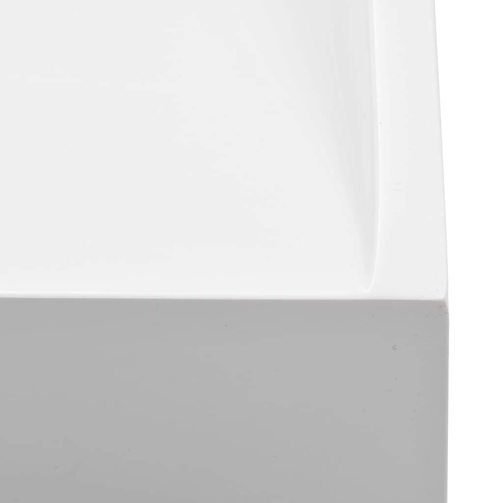 Festnight Lavabo Blanco 80 x 46 x 11 cm Lavabo sobre Encimera Resina Mineral