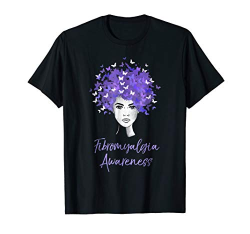 Fibromyalgia Awareness T-Shirt Purple Butterflies Gift - Fibromyalgia Ribbon Butterfly