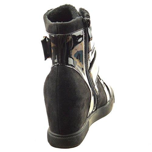 Sopily - Scarpe da Moda bi-materiale donna fibbia verniciato Tacco zeppa 8 CM - soletta sintetico - foderato di pelliccia - Nero