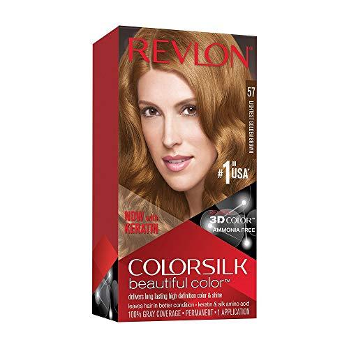 🥇 Revlon ColorSilk Tinte de Cabello Permanente Tono #57 Castaño Dorado Muy Claro