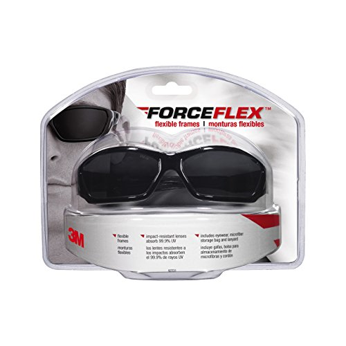 3M 92231-80025 ForceFlex Flexible Safety Eyewear with Gray Lens and Black Full - 3m Sunglasses