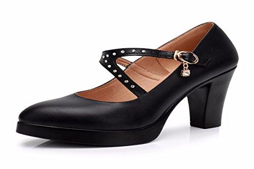 Le Tacchi Scarpe KPHY Alti Con Scarpe Solo Comode Piattaforma da Superficiale Brutta black donna Scarpe Scarpe Cheongsam Impermeabile Pelle Nera 67Z6wqTxr
