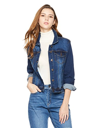 Lily Parker Women's Classic Long-Sleeve Button Front Denim Jacket Medium Dark Blue