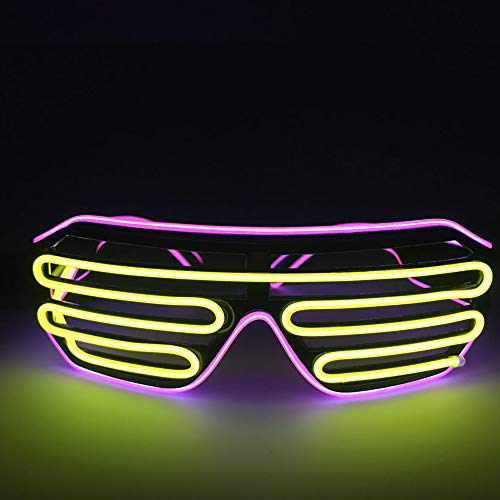 UVZZ El Wire Glasses Led Fashion DJ Bright Safety Light Up Shutter Shaped Glow Sun Glasses Multicolor led Flashing Glasses with 4 Modes for Halloween Christmas Birthday Party (Pink Frame+Yellow) -