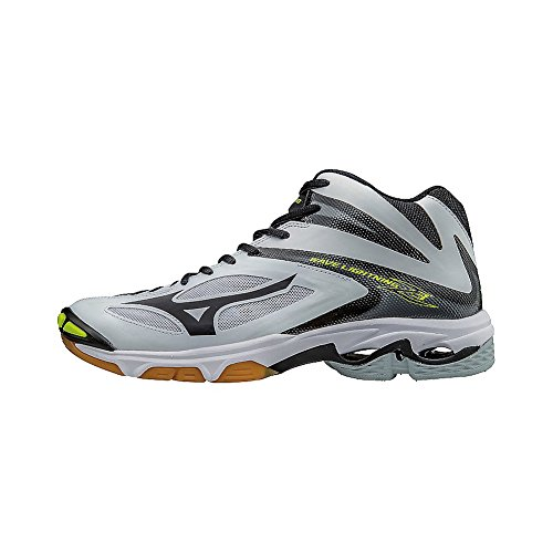 Mizuno Wave Lightning Z3 Mid Mens Volleyball Shoes, White/Black, 5 D US