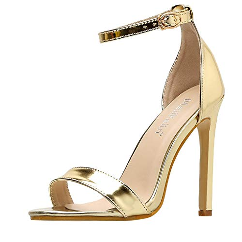 Women's Single Heel Strappy Heeled Sandal,Summer Fish Mouth Simple Word with Thin High Heel Sandals Gold