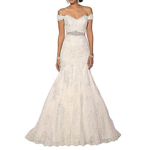 Lisa Off Shoulder Lace Mermaid Wedding Dresses Birdal Gowns LS91