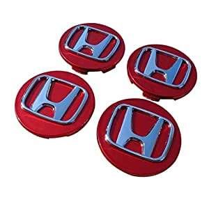 Honda Wheel center cap set with Sporty Red and Silver Design