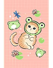 Notebook: Kawaii Cat & Frogs | Dot Grid Journal | Cute Illustrated Japanese Aesthetic Y2K Pink Diary for Kids & Teens