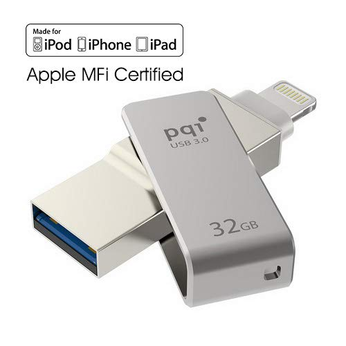 iConnect Mini [Apple MFi] 32 GB Mobile Flash Drive w/ Lightning Connector for iPhones iPads Mac & PC USB 3.0 (Iron Gray)