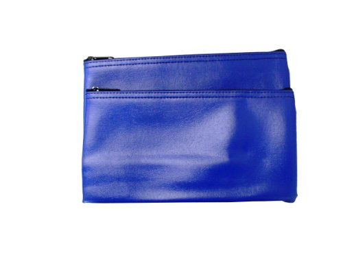 (Zipper Bank Bags Leatherette Value Package of 2 Bags (Royal Blue))