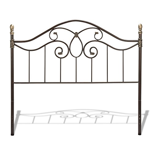 Dynasty Headboard with Arched Metal Grill and Scalloped Finial Posts, Autumn Brown Finish, Queen