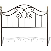 Dynasty Headboard with Arched Metal Grill and Scalloped Finial Posts, Autumn Brown Finish, King