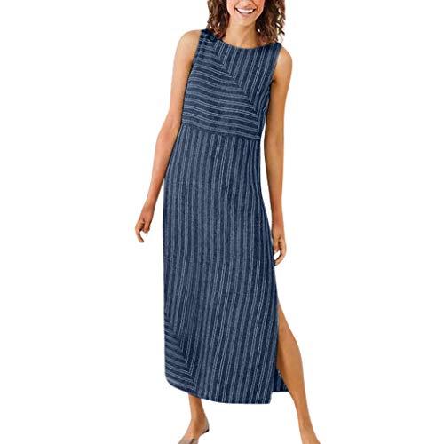 (Women Casual Striped O-Neck Dress TANGSen Ladies Sleeveless Leisure Dress Crew Neck Linen Pocket Long Dress Navy)