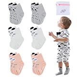 Unisex Baby Socks-Cute Infant Non-Slip Cotton Socks with Grip-Crew Socks for Baby Toddler Kids-0-12 Months
