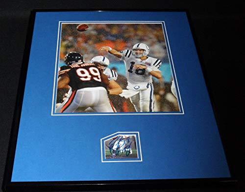 Peyton Manning Signed Framed 16x20 Photo Display JSA Colts Super Bowl ()