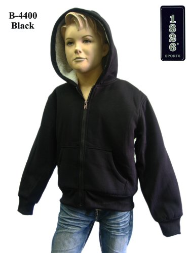 1826 Sports Boys/kids Hoodies Full Zip Fleece BLACK w/ Sherpa Lining (B004517OUO one size for ages-2-4)