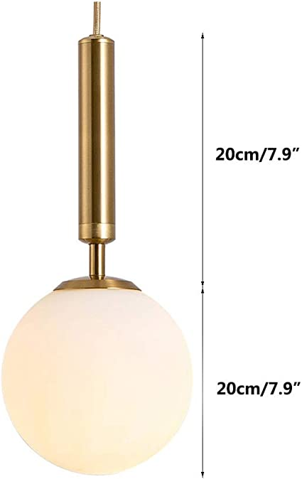 EFINEHOME Globe Pendant One Light Contemporary Mid Century Modern Lighting Fixture Matte White Glass with Brass Finish 15cm// 6inch Lampshade