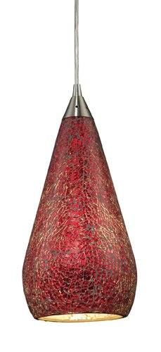 Elk 546-1RBY-CRC 1-Light Pendant In Satin Nickel With Ruby Crackle Curvalo 1 Light Pendant