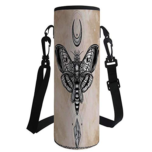 iPrint Water Bottle Sleeve Neoprene Bottle Cover,Fantasy House Decor,Dead Head Hawk Moth with Luna and Stone Spiritual Magic Skull Illustration,Black White Cream,Fit for Most of Water Bottles by iPrint