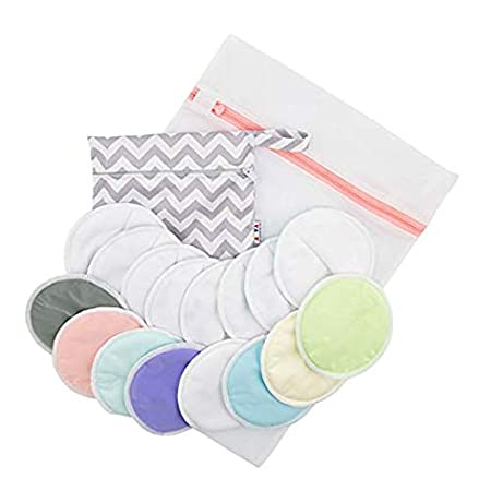 ALVABABY Nursing Pads Washable Organic Breastfeeding For Mothers Bamboo Antibacterial Soft Absorbent White Pads 8 Pairs +1 Carry Bag Random 8R-B09-CA