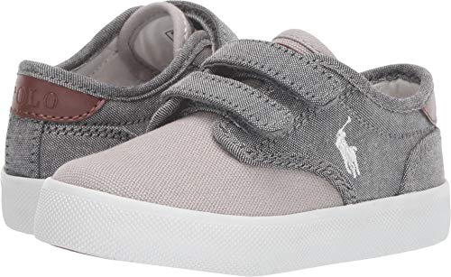 (Polo Ralph Lauren Kids Baby Boy's Luwes EZ (Toddler) Grey Chambray/Canvas/White Pony 7.5 M US Toddler)