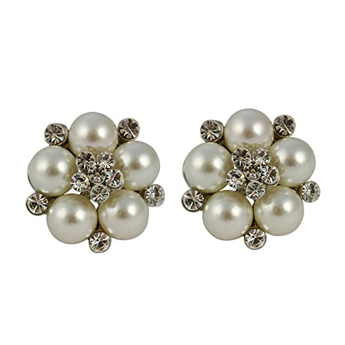 (Audrey Hepburn Clip On Glass Pearl Earrings (Cream))
