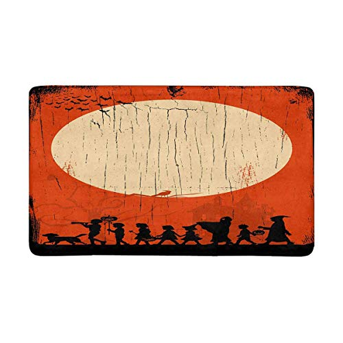 INTERESTPRINT Children Going Trick Or Treating on Halloween Indoor Doormat Latex Backing Non Slip Door Mat Entrance Rug 30