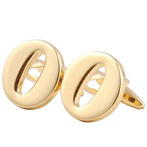 Men's Shirts Cufflinks Alphabet Letter 4 Color(A-Z) Golden - O Hh
