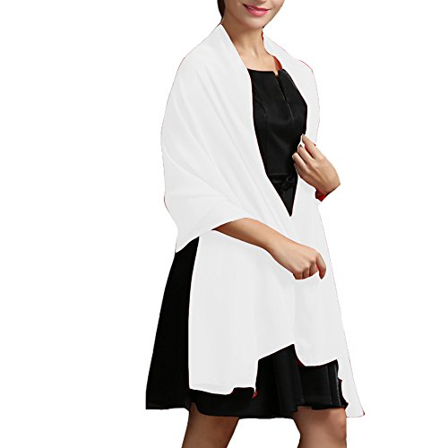 Chiffon Wedding Shawl Wrap Scarves for Women Evening Prom Bridesmaid Dress (Black And White Chiffon)