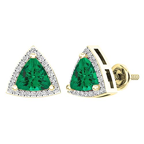 Dazzlingrock Collection 18K 6 MM Trillion Lab Created Emerald & Round Diamond Ladies Halo Stud Earrings, Yellow Gold