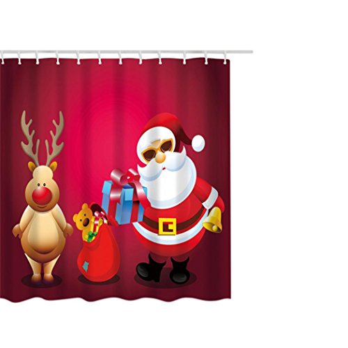 Kimanli 71x71inch Christmas Waterproof Polyester Bathroom Shower Curtain Decor With Hooks (F)