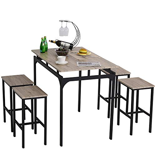 HOMCOM 5 Piece Modern Dining Table and 4 Stools Industrial Dining Set with Footrest, Metal Legs, For Kitchen, Grey, and…